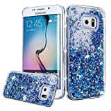 Galaxy S6 Case, Galaxy S6 Liquid Glitter Case,PHEZEN 3D Creative Design Shiny Quicksand Flowing Bling Glitter Sparkle Heart Clear Hard Case for Samsung Galaxy S6 - Blue Diamonds