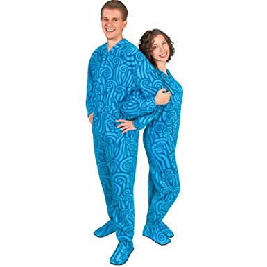 Adult Drop Seat Footie Pajamas Fleece Wave Design, 5