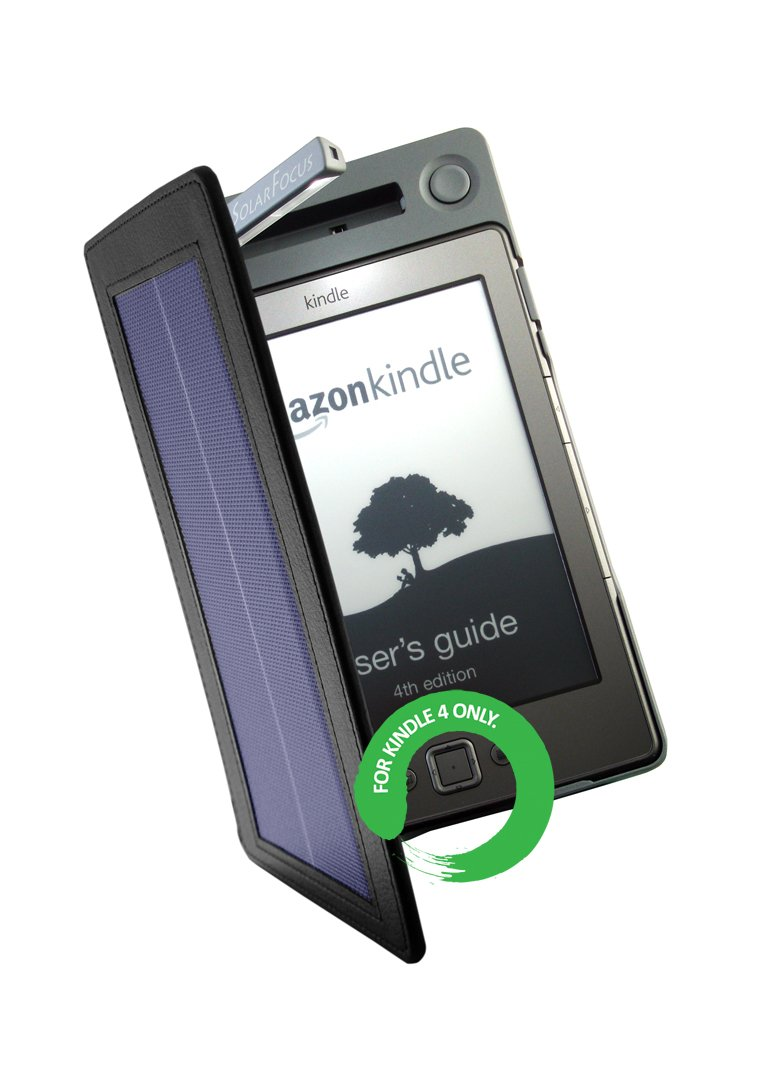 Solar Lighted Cover for Kindle 4 - Protect, Charge & Light up Your E-book. 3 Times Longer Battery Life. Keep Reading Day & Night, Indoors & Outdoors. (IMPORTANT NOTE: It Fits ''LATEST KINDLE'' with 5 Way Controller only, not for Kindle Touch / Kindle Keyboa by SolarFocus