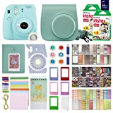 Fujifilm Instax Mini 9 Instant Camera Ice Blue With with 40 Sheets of Instant Film, Custom Mini 9 Case with Strap, Photo Album, Assorted Frames , 6 Color Filters And More Best Value Bundle