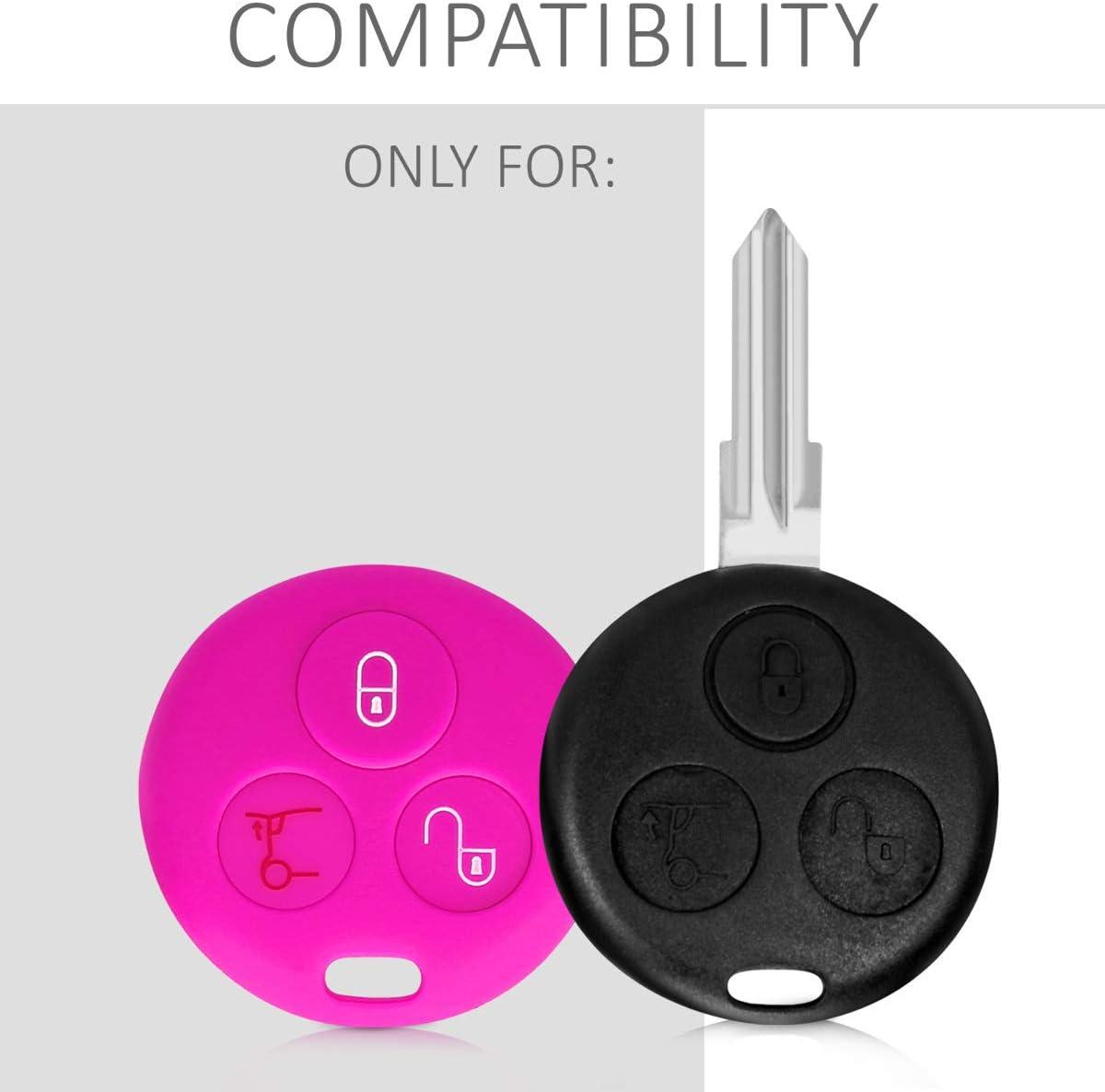 Silikon Schutzh/ülle Schl/üsselh/ülle Cover in Pink kwmobile Autoschl/üssel H/ülle kompatibel mit Smart 3-Tasten Funk Autoschl/üssel