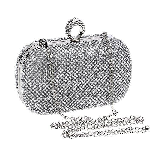 sera festa per Color frizione di Sacchetto la Bling lucido di borsa della Silver della delle del donne cristallo nuziale di Hungrybubble Silver damigella cristallo di della rocca d'onore qEUw4R