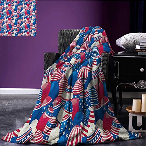USA couch blanket Traditional Easter Eggs with American Flag