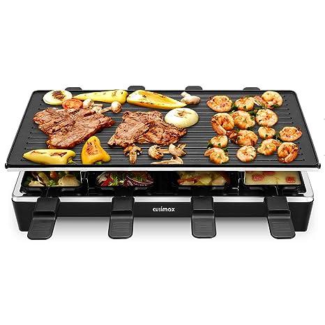 Cusimax Raclette Parrilla para 8 Persona, 1500 W Parrilla eléctrica con Plancha Reversible, Grill de mesa con Antiadherente 8 Mini-sartenes, ...