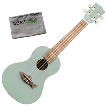 Kala MK CS GRY Concert Fin Grey Shark Ukulele Bundle w/Polish Cloth best ukelele
