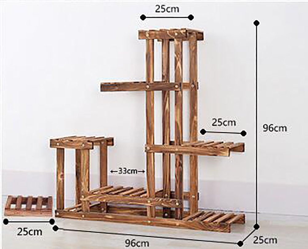 Antiseptic solid wood flower stands multi-layer combination outdoor balcony indoor plant ladder frame woody-A by XUEFEIFAN