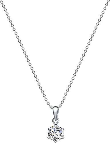Multicolor Sterling Silver Classic Pendant Necklace 18