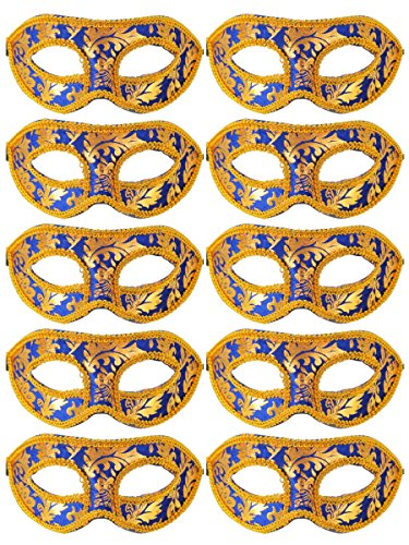 Unisex Retro Masquerade Mask Mardi Gras Costume Party Acccessory Blue -