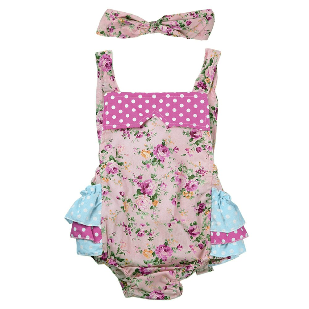 Zrong Baby Girls' Flower Print Ruffles Romper Summer Dress with Headband