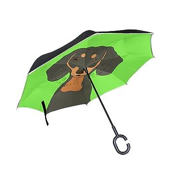 mydaily doble capa paraguas invertido coches Reverse paraguas de perro salchicha perro resistente al viento UV