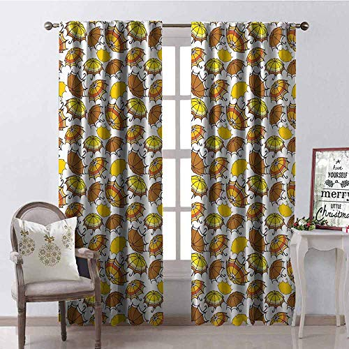 - GloriaJohnson Umbrella Blackout Curtain Striped Parasols with Bent Crook Handles in Earth Tones Cartoon Style 2 Panel Sets W52 x L84 Inch Brown Yellow Orange