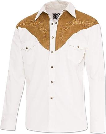 STARS & STRIPES Camisa Blanca combinada con Antelina Bordada Boston: Amazon.es: Ropa y accesorios