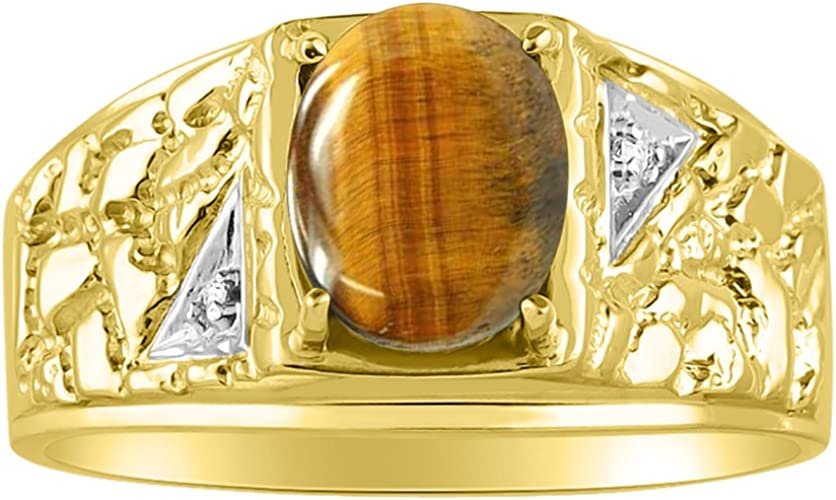 Rylos Diamond /& Tiger Eyey Ring Sterling Silver or Yellow Gold Plated