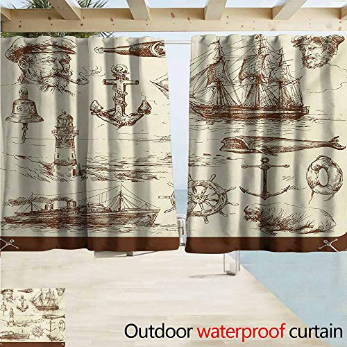 Marine Navy Captains Doorway Curtain Oceanic Theme Retro Style Drawing Effect Framed Nautical Collection for Patio/Front Porch W63 xL45 Brown Cream