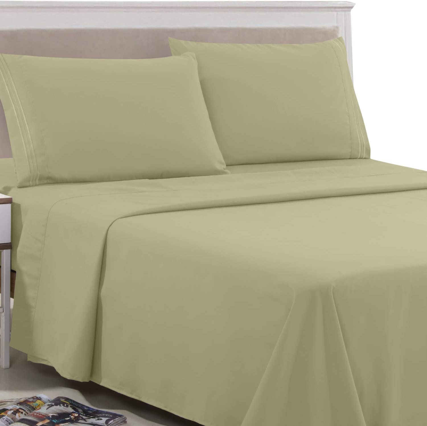 Lux Decor Collection King Bed Sheets Set - King Sheets Brushed Microfiber 1800 Thread Count Bedding - Wrinkle, Stain, Fade Resistant - Deep Pocket King Size Sheets Set - 6 PC (King, Plain Olive Green)