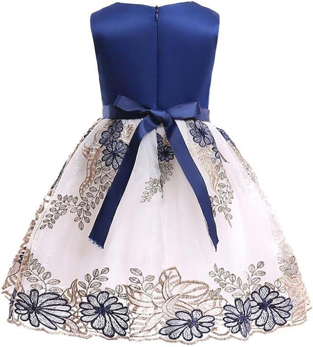 18dbaae90a78 Amazon.com  JPOQW Kid Girls Dress Toddler Girl Pearl Bowknot Flowers ...