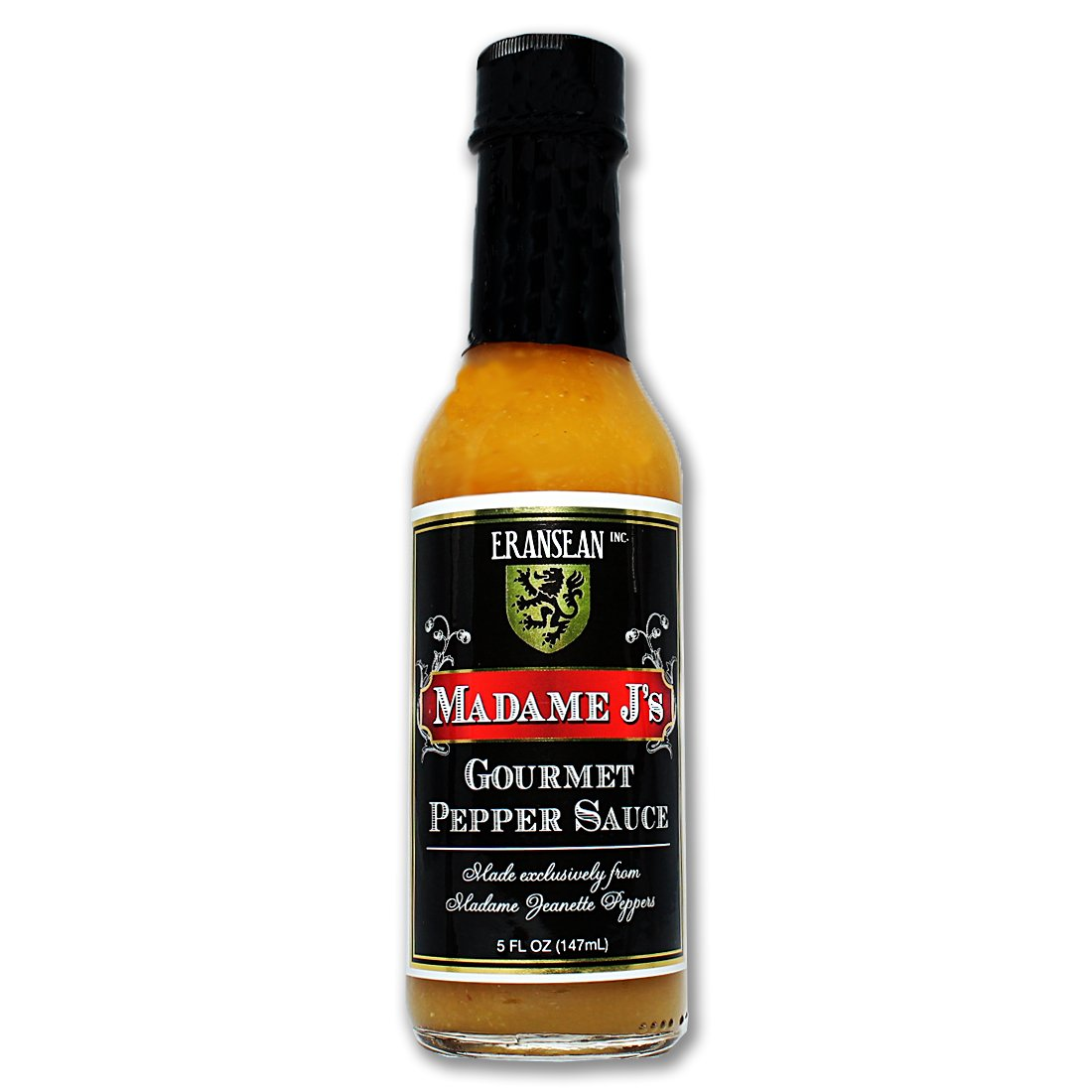 ERANSEAN Madame J's Gourmet Pepper Sauce/made from exclusively grown Madame Jeanette Peppers/natural unique flavor and heat/gluten free/shake bottle - 5 Fl. Oz.