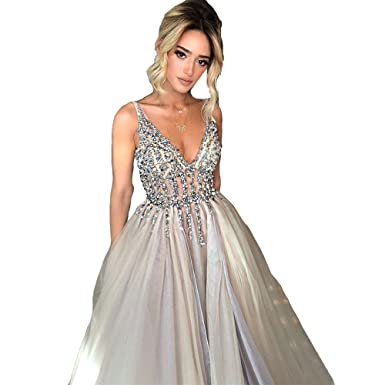 ebeb7c8b48 Sexy Tulle Deep V Neck Prom Dresses V Back High Split Side Evening Dress  with Sequins