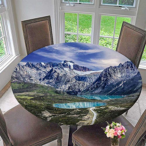 (Mikihome Round Tablecloth Tibetan line Scenery in Tibet for Kitchen 50