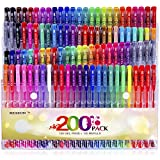 Reaeon Gel Pens for Coloring Books, 100 Color Gel Markers Plus 100 Refills for Drawing Painting Writing, Art & School Supplies