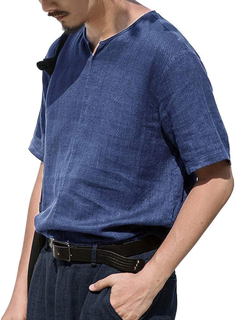 Mens Summer Fashion Pure Cotton and Hemp Short Sleeve Comfortable Top