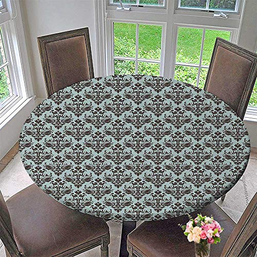 (Mikihome Round Premium Tablecloth eDamask Shapes Motif Western Modular Leaves and Ray Curving LinesFloral 35.5