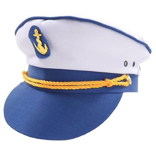eb0086654a9 Amazon.com  Sailor Naval Officer Captains Hat Mens Fancy Dress  Clothing