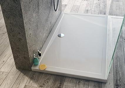 Piatto doccia 120x80 altezza 4 cm in acrilico antiscivolo scarico