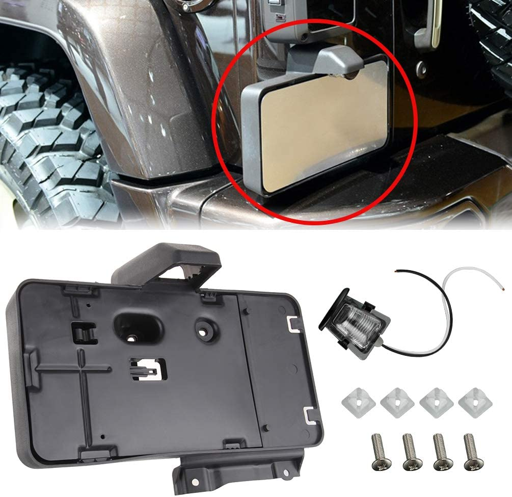 APDTY 68064720AA License Plate Bracket Plastic Holder Assembly With Light Lamp Fits 2007-2014 Jeep Wrangler Rear Factory Mounted Under Rear Driver Tail-Light