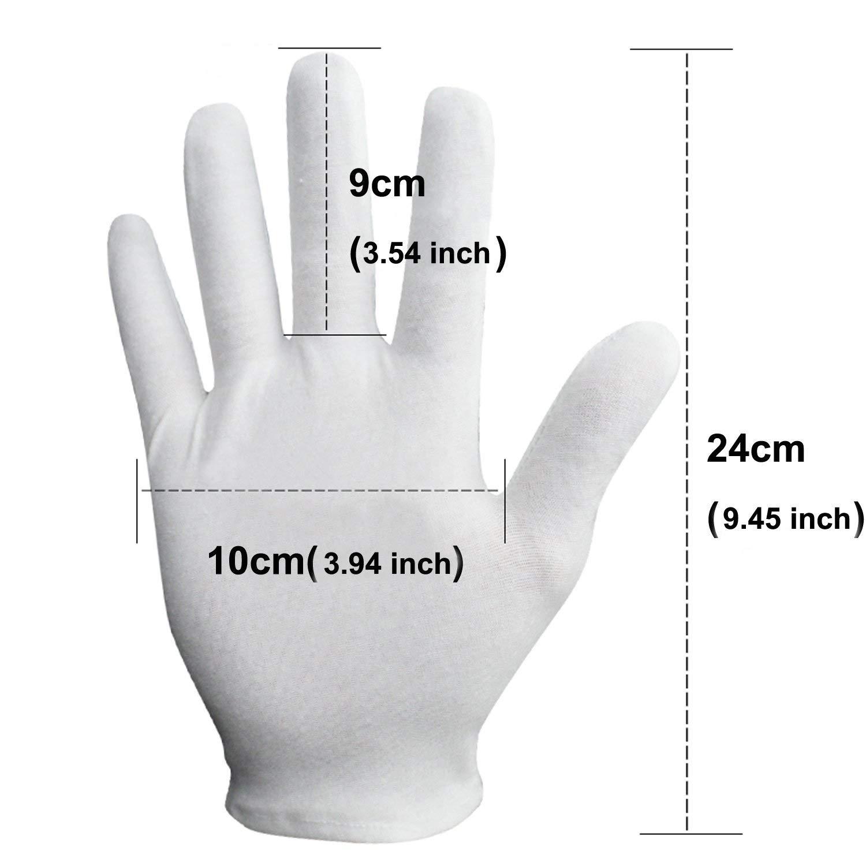 Bijoux etc. Sinwind Lot de 12 Paires de Gants Blancs en Coton avec Tissu Blanc /études Travail Quotidien Confortables et Respirants pour Soins de la Peau
