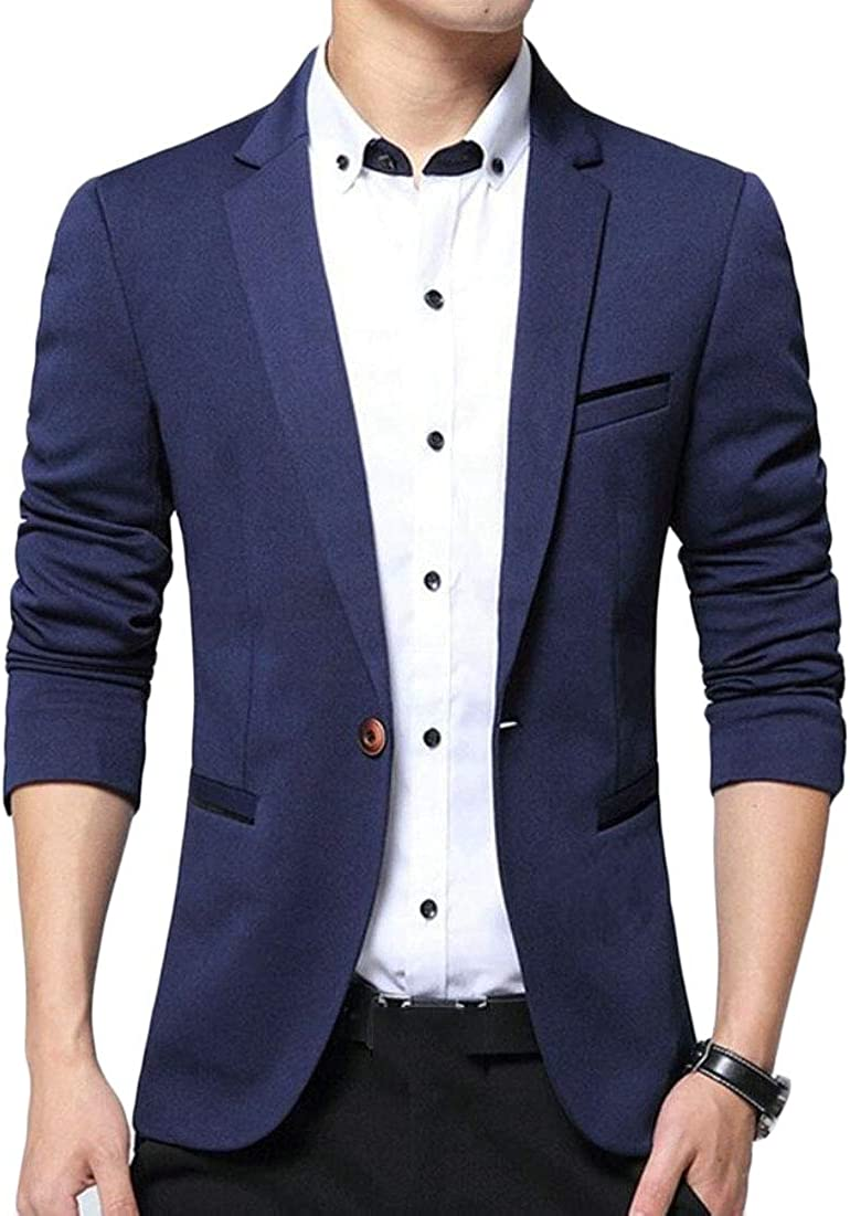 WSPLYSPJY Men Slim Fit Blazer Jacket Solid Casual One Button Sport Coat