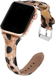 Simpeak Slim Genuine Leather Band Compatible with Apple Watch 44mm 42mm Series 6 SE 5 4 3 2 1, Women Men Wirstband Strap Replacement for iWatch 44 42, Leopard