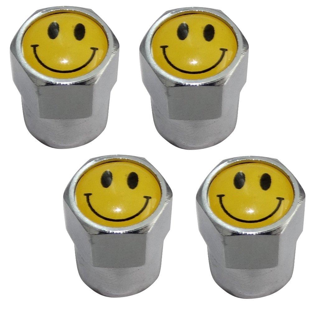 Aerzetix: 4 x Tire Valve Caps Universal Auto Motorcycle Tyre Nozzle Caps Bike With Smiling Face Emoticon C19909