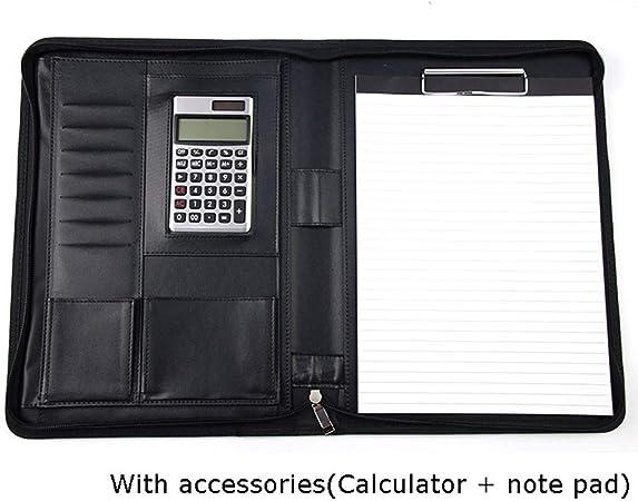 Color : Brown, Dimensione : Calculator Yyqx Portablocchi Cartella Portadocumenti in Pelle A4PU con calcolatrice Cartella Multifunzione for Documenti for Ufficio Manager for Documenti