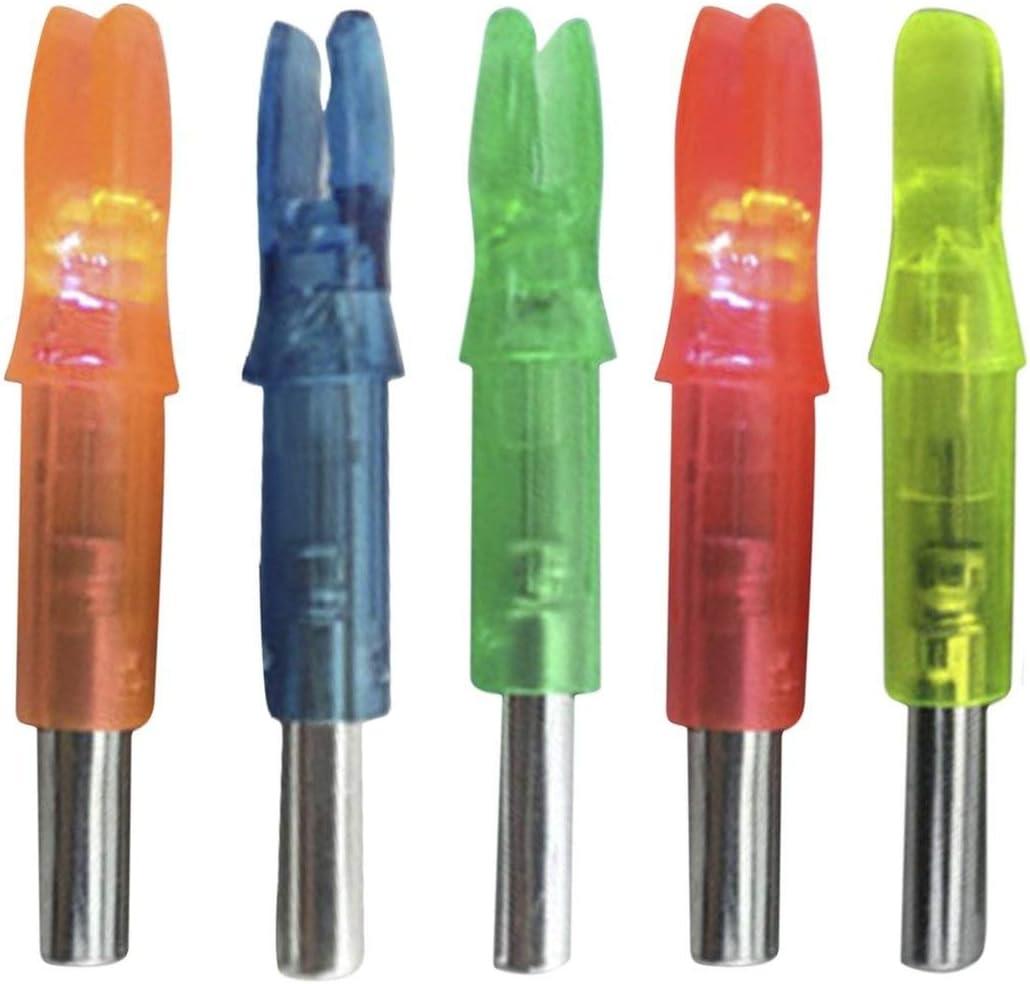 Paperllong/® 12PCS Set Super Brillante LED Luminoso Flecha Nock Tail Caza al Aire Libre Tiro Tiro con Arco Flecha Arco Doble Cola Luz Interior