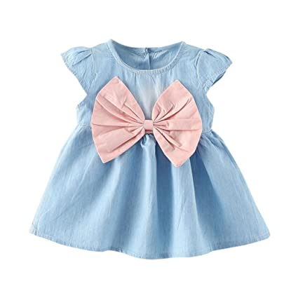 a19b664bd Image Unavailable. Image not available for. Color: Cuekondy Toddler Baby  Girls Kids Princess Denim Dresses Summer Party Sundress Outfits Clothes ...