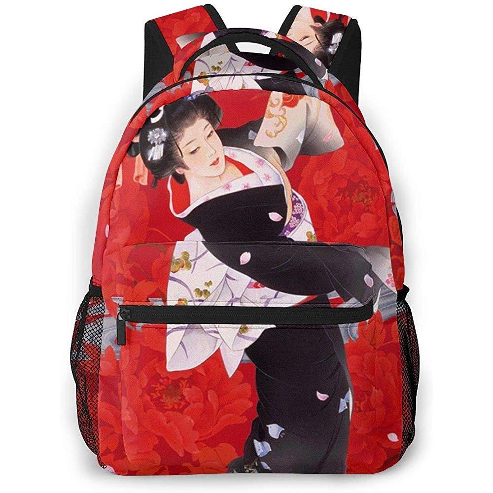 ABRAN Backpack Unisexe Sac /À Dos Danse Japonaise Geisha Kimono Bookbag Sac Dordinateur L/éger Pour Ordinateur Voyage En Plein Air Camping