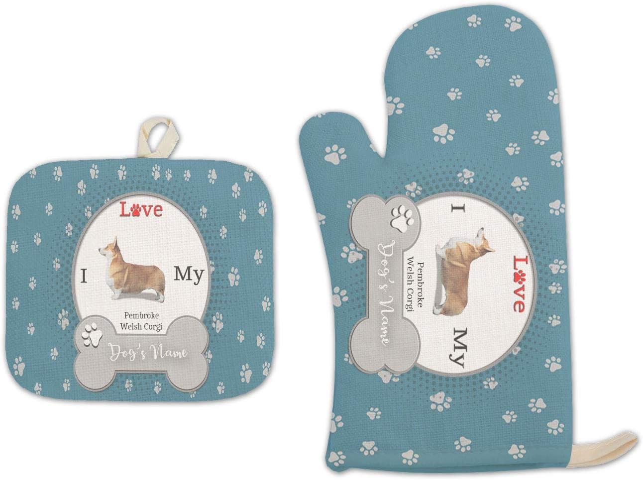 Bleu Reign BRGiftShop Personalized Custom Name I Love My Dog Pembroke Welsh Corgi Linen Oven Mitt and Potholder Set