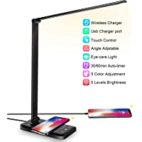 LED Desk Lamp with Wireless Charger, USB Charging Port, Desk Lighting with 5 Brightness Level,5 Lighting Modes, Dimmable…