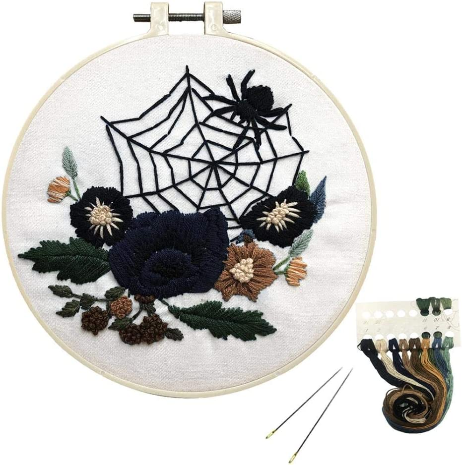 Amazon Com Louise Maelys Beginner Embroidery Kit Halloween Spider Web Flower Cross Stitch Full Range Diy Needlepoint Kit For Adults Kids