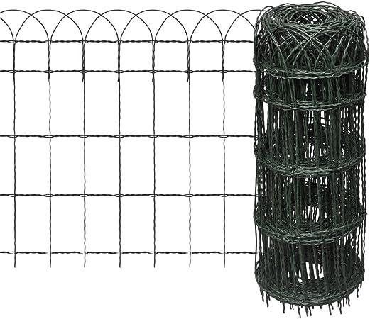 Festnight Clôture de Jardin   Clôture Jardin en Métal   Grillage Bordure de  Jardin de Fer pour Plantes et Animaux Vert 10 x 0,65 m