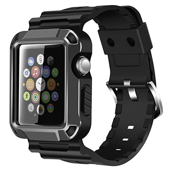 buy online 9fb62 b9923 iiteeology Compatible with Apple Watch Band 42mm, Rugged Protective iWatch  Case and Band Strap with Built-in Screen Protector for Apple Watch Series  ...