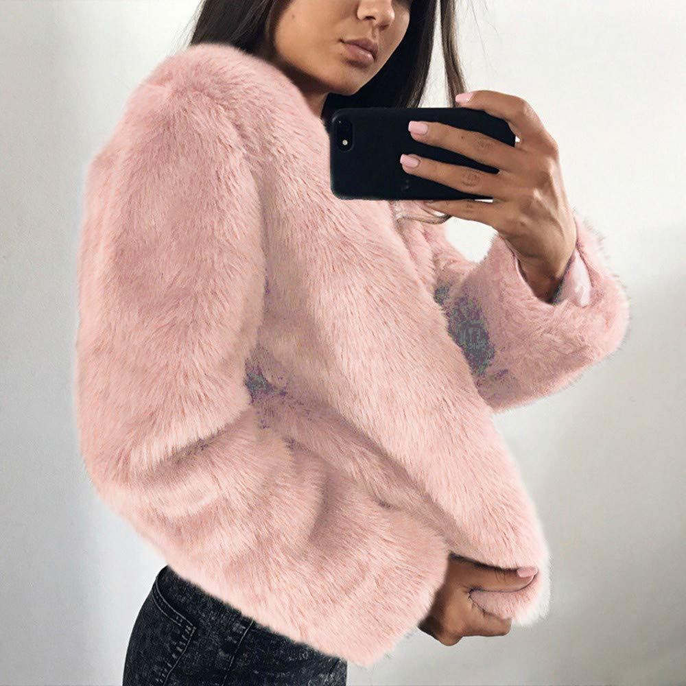 Amazon.com : Fluffy Fur Coats for Women O-Neck Coat Warm Winter Coat Hood Parka Overcoat Solid Jacket Outwear : Grocery & Gourmet Food