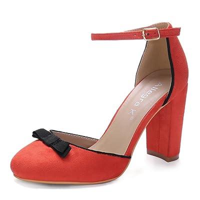 Allegra K Women's Bow Decor Block Heel Ankle Strap Pumps (Size US 6) Orange Red | Pumps