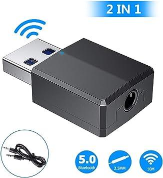 Replitel - Adaptador Bluetooth, Bluetooth 5.0 USB Dongle, transmisor Bluetooth con audio digital de 3,5 mm para PC/hogar/auriculares/TV/coche [necesita alimentación USB]: Amazon.es: Electrónica