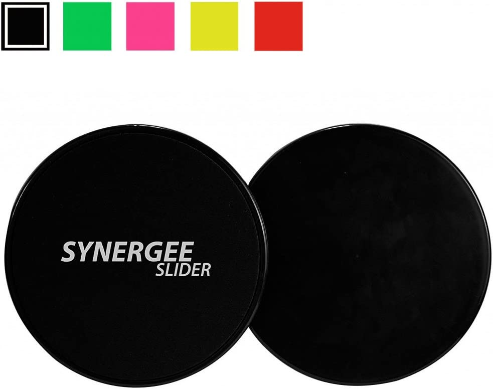 Synergee Jet Black Gliding Discs Core Sliders. Dual Sided Use on Carpet or Hardwood Floors. Abdominal Exercise Equipment : Sports & Outdoors