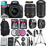 Holiday Saving Bundle for D5600 DSLR Camera + 18-55mm VR Lens + AF-P 70-300mm VR Lens + 0.43X Wide Angle Lens + 2.2x Telephoto Lens + 2 Of 16GB Class 10 + Backup Battery - International Version