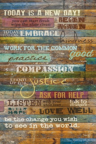 Inspirational Quotes Wall Art – Today Is a New Day 12 x 18 Inch Wood Wall Art Panel by Marla Rae