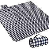 """AMMSUN Picnic Blanket Foldable Beach Mat Extra Large 80"""" X 80"""" for 6 Adults Picnic Mat Machine Washable Sandproof Waterproof Folding Portable Camping Blanket for Travel and Music Festivals - Stripe"""