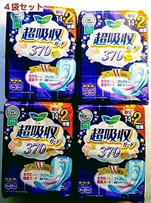 Amazon 4袋セット限定増量ロリエ 超吸収ガード 370 羽つき 37cm 14